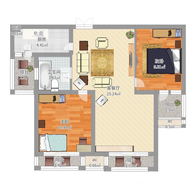 世纪华城91.49㎡世纪华城户型图宽邸C12室2厅1卫1厨户型2室2厅1卫1厨-副本户型图