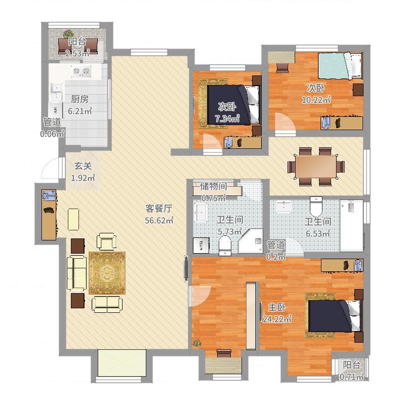 城建北尚166.17㎡H户型5室2厅2卫户型图