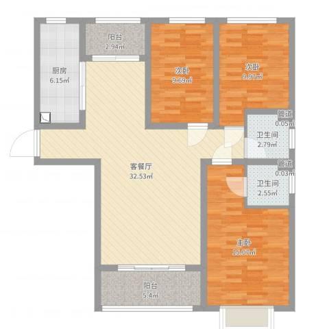 天鸿尚都3室2厅2卫1厨109.00㎡户型图