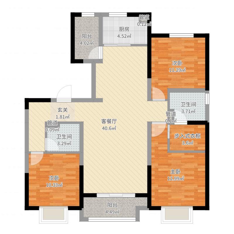 保利拉菲公馆朗菲园138.00㎡E5户型3室2厅2卫1厨-副本户型图
