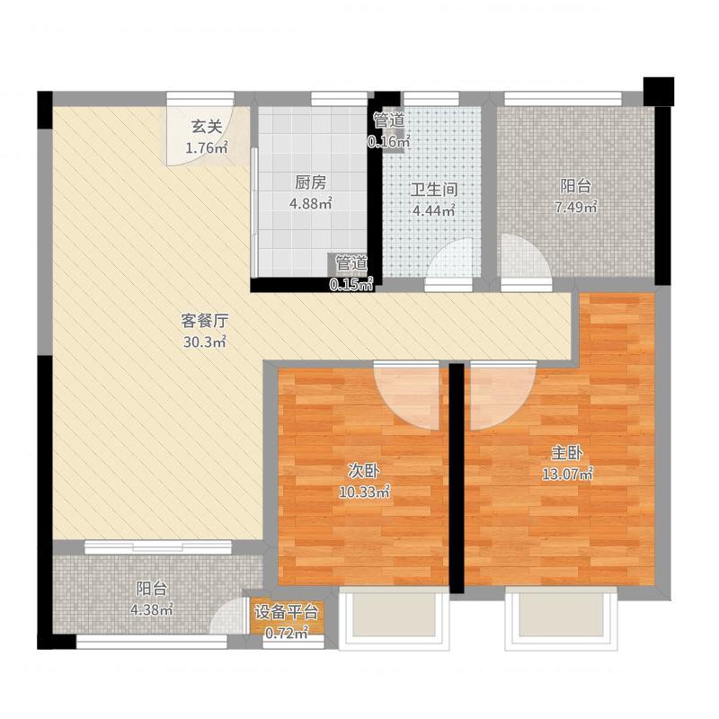 尚枫澜湾95.52㎡10#标准层中间户E2-3户型2室2厅1卫1厨户型图
