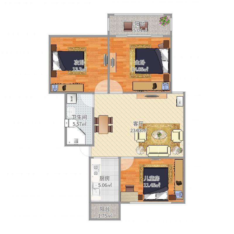 88.8平多层小三房客厅窗户朝南户型图