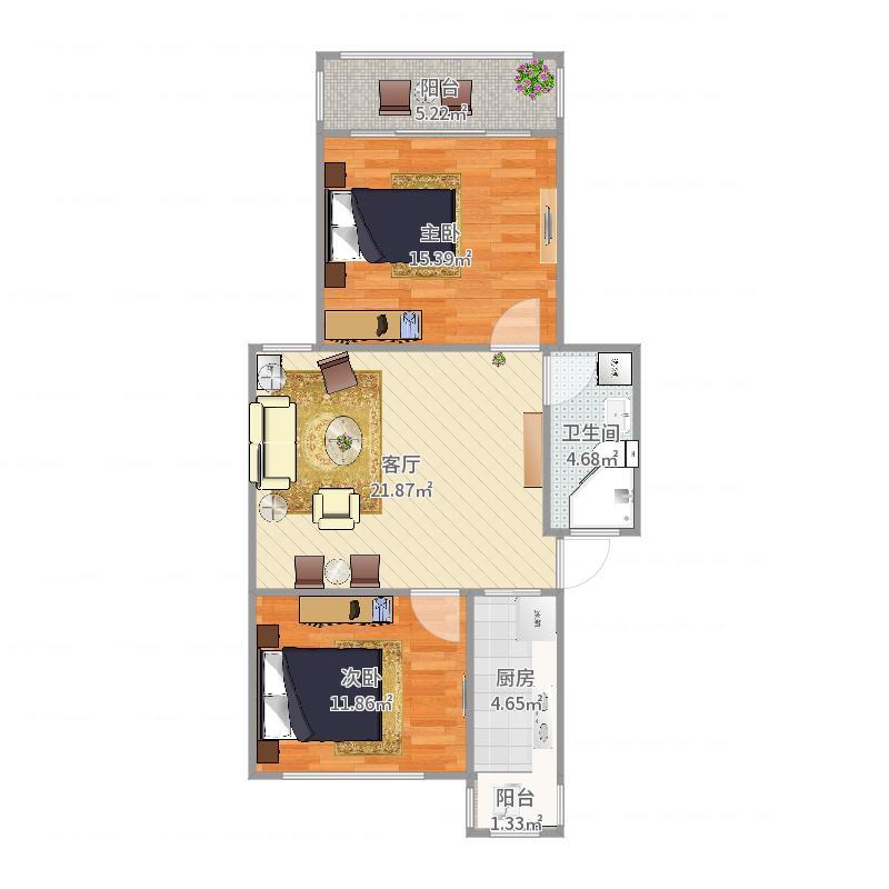 70平两房左边户型图