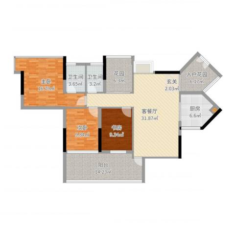 阳光时代3室2厅2卫1厨135.00㎡户型图