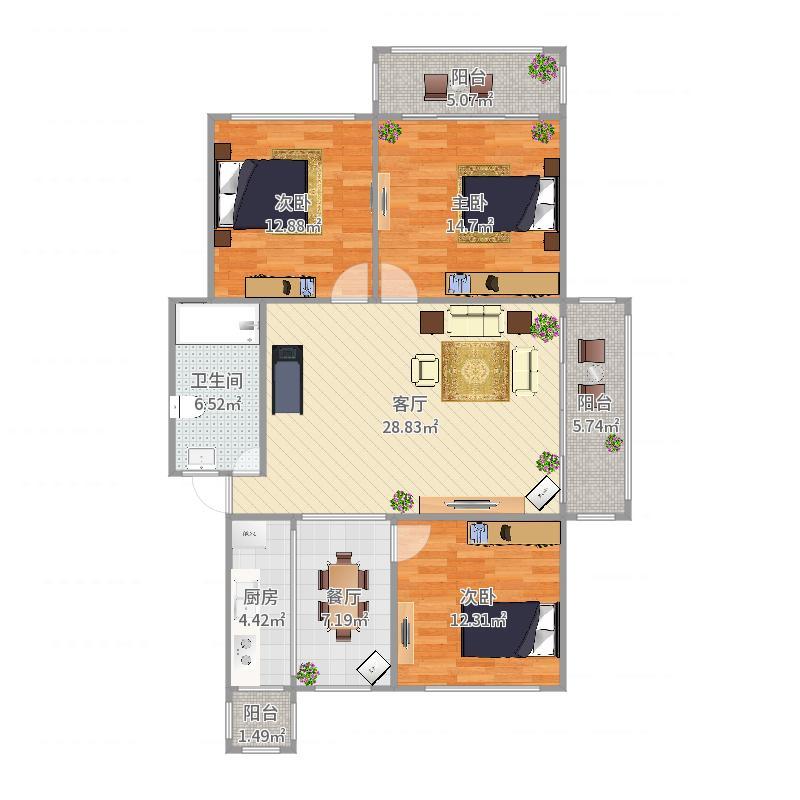 120平边户三房户型图