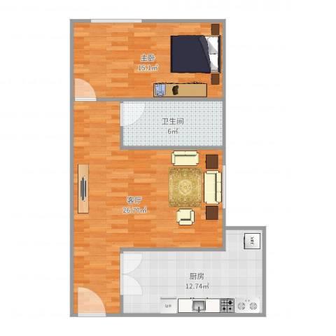 利和国际公寓1室1厅1卫1厨76.00㎡户型图