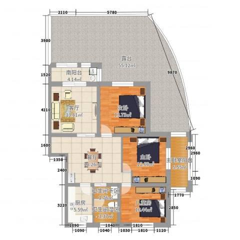 欧景名城22栋1013室2厅0卫1厨180.00㎡户型图