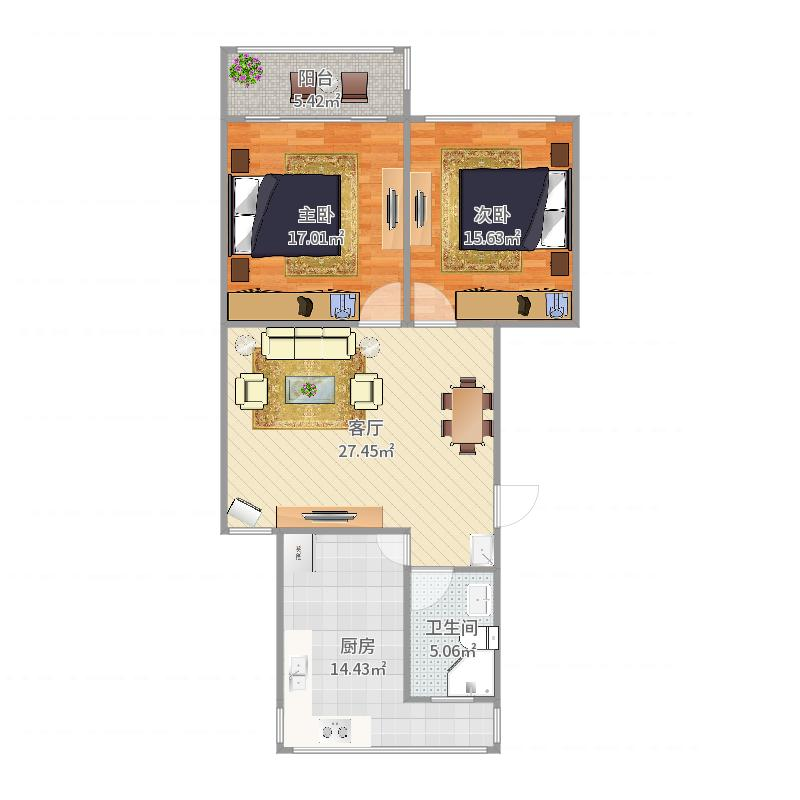 92平电梯两房户型图