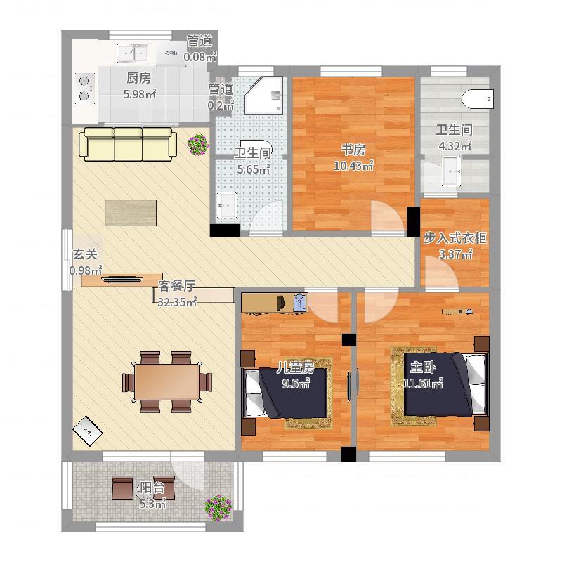 普罗旺斯3期115.00㎡普罗旺斯墅山6#C户型3室3厅2卫1厨-副本户型图