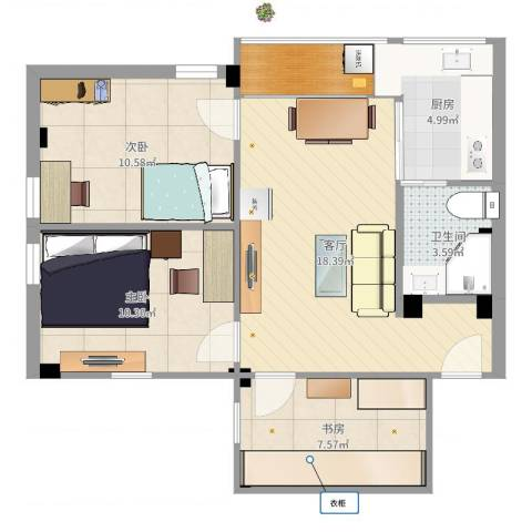 汾水小区3室1厅1卫1厨73.00㎡户型图