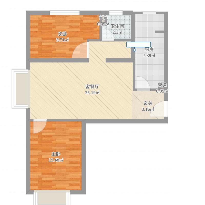 首创・伊林郡二期N5户型2室2厅1卫1厨-副本户型图