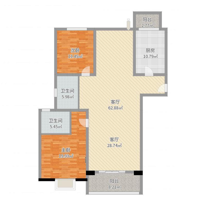 世茂外滩新城140.00㎡7号楼户型3室1厅2卫1厨户型图