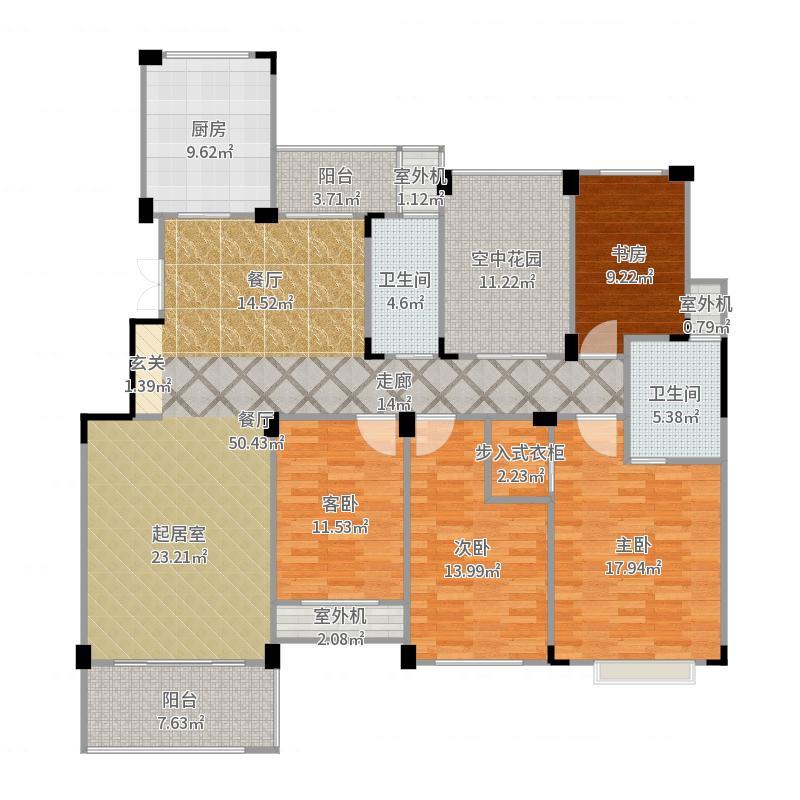 新港天城160.00㎡E1户型4室2厅2卫户型图