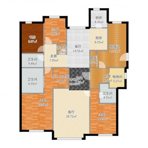 华润・润西山4室2厅3卫1厨209.00㎡户型图