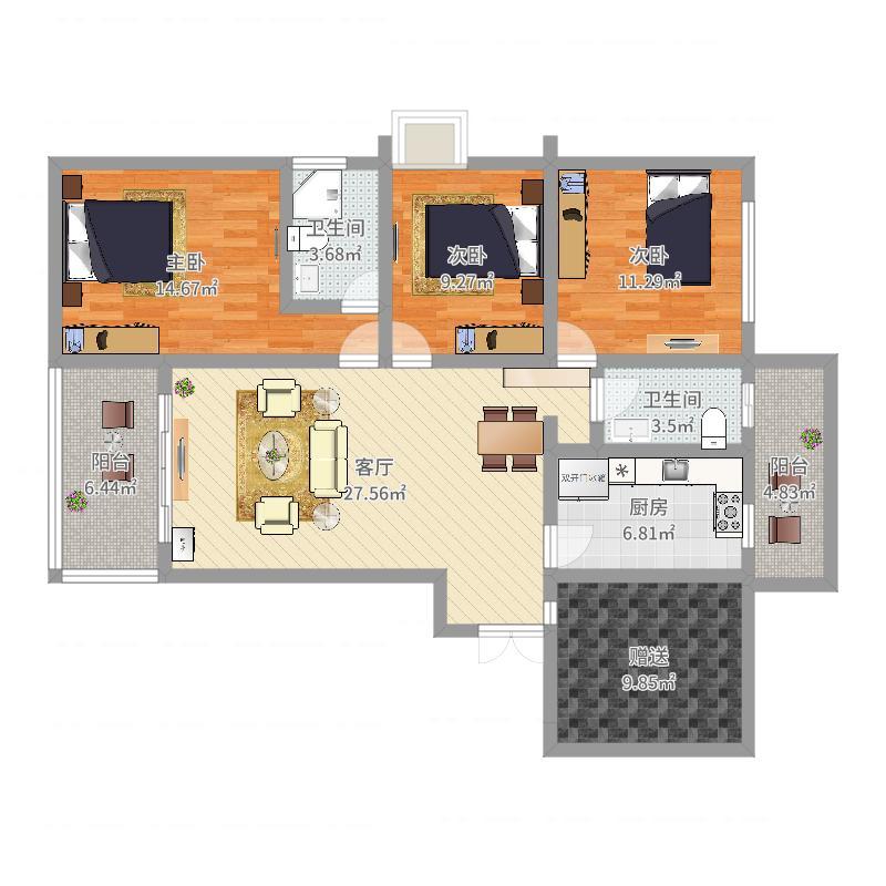 枫语墅A2三室一厨两卫家具布置户型图