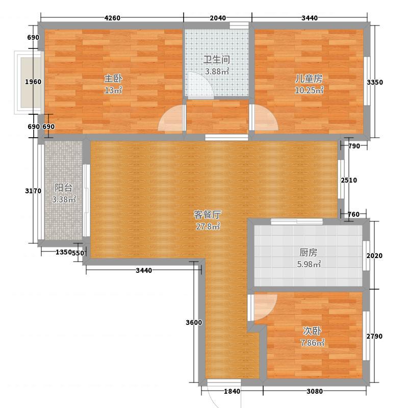 43号楼1704平面图户型图