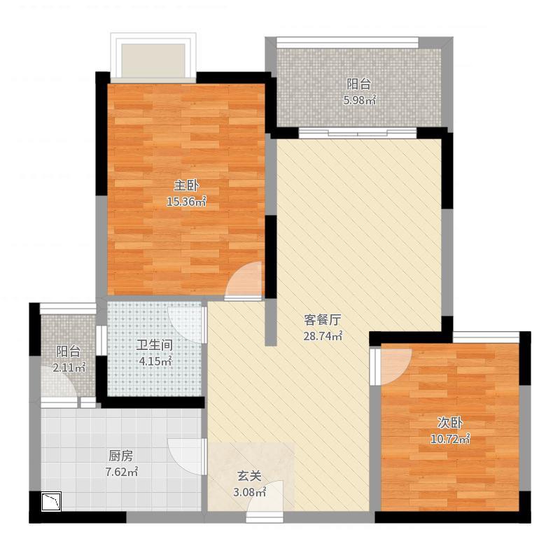 金鹰国际城93.00㎡A户型2室2厅1卫1厨户型图