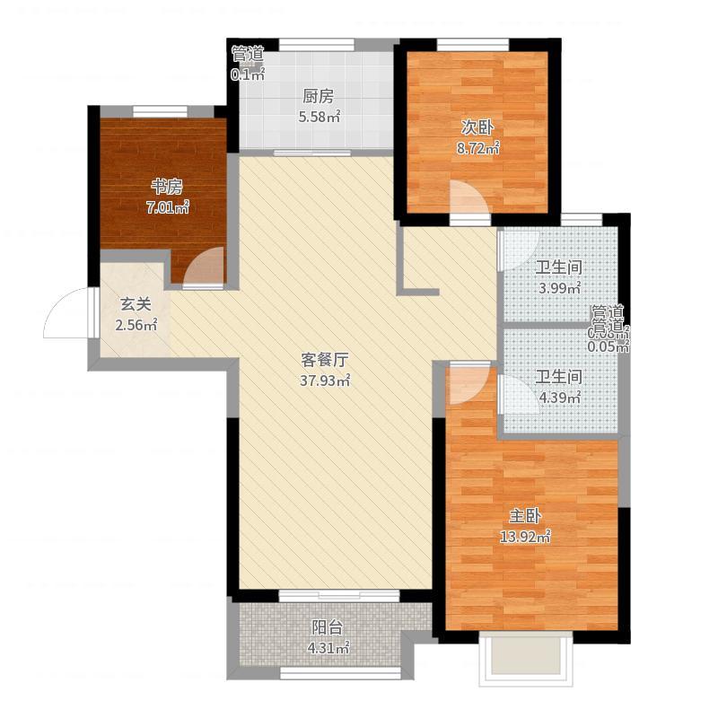 保利拉菲公馆朗菲园126.00㎡D1户型3室2厅2卫1厨户型图