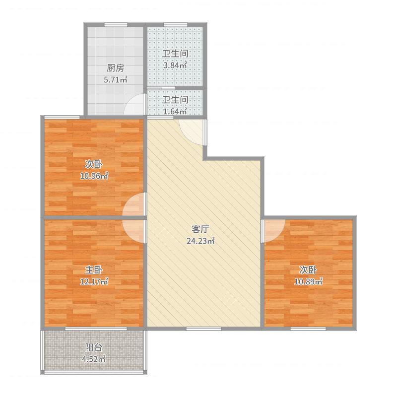 明珠苑302室89平户型图
