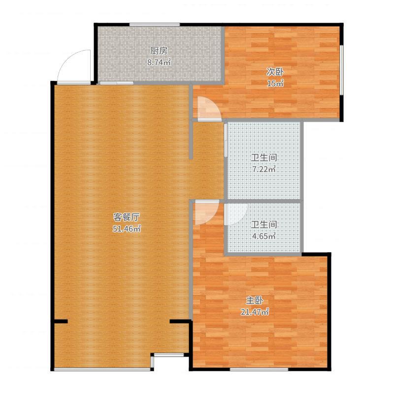 北京,北苑家园2室1厅1厨2卫户型图