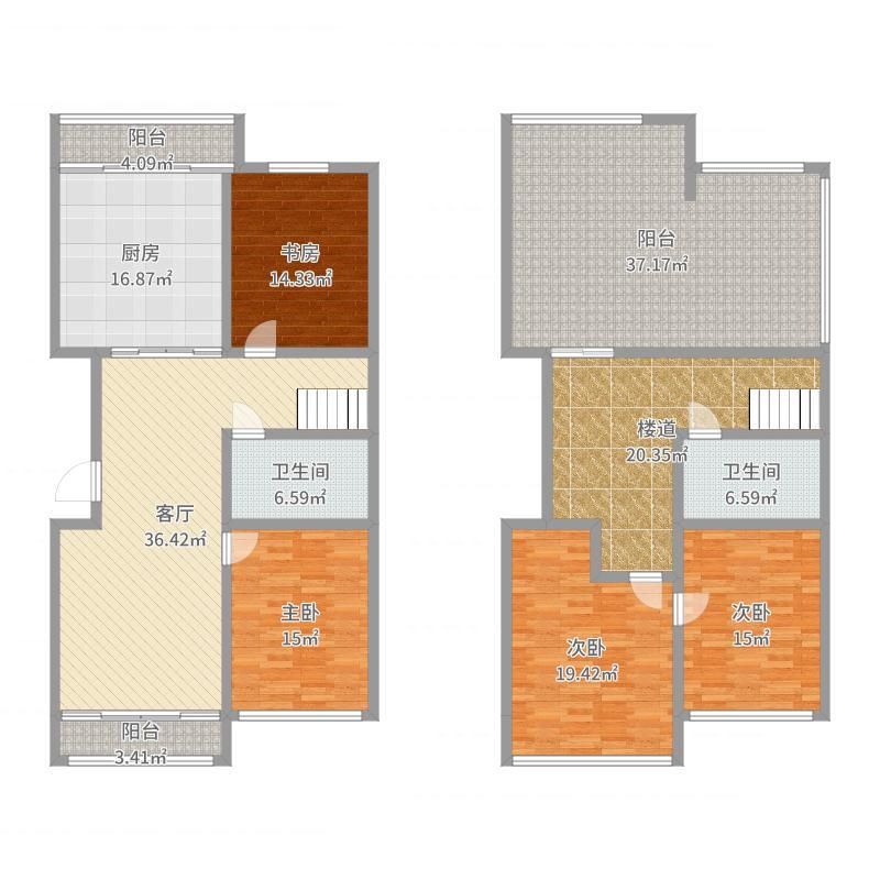 湖畔诚品206.00㎡户型图17户型4室2厅2卫户型图