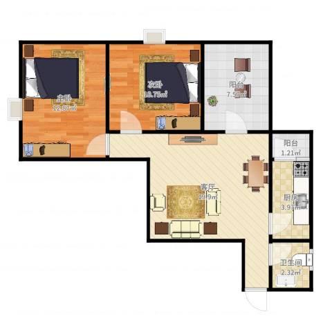 丽园雅庭2室1厅1卫1厨73.00㎡户型图