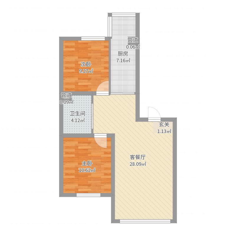 金源蓝城88.59㎡C户型2室2厅1卫1厨户型图