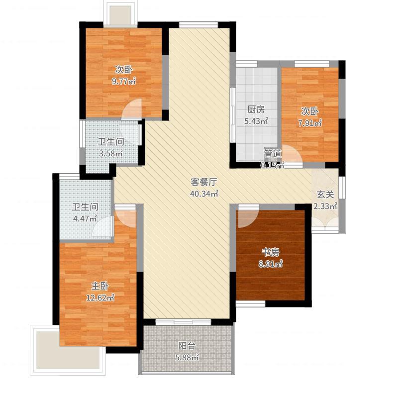 金奥国际中心一期1#9#楼标准层C1户型-副本户型图