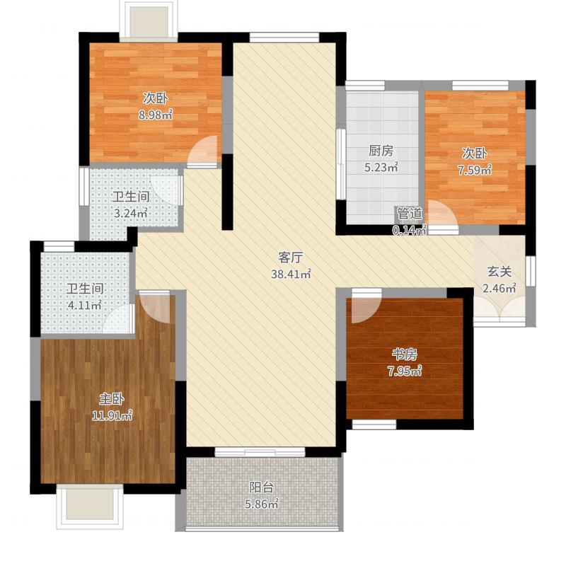 金奥国际中心一期8#9#楼标准层C1户型-副本户型图