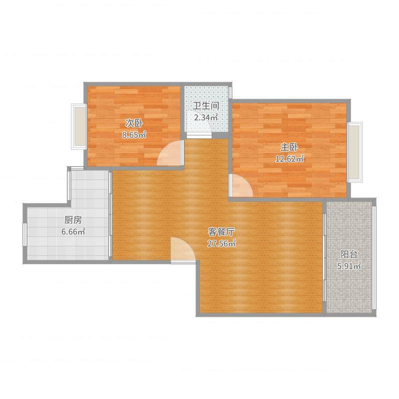 紧凑型现代风两居室-干湿分离户型图