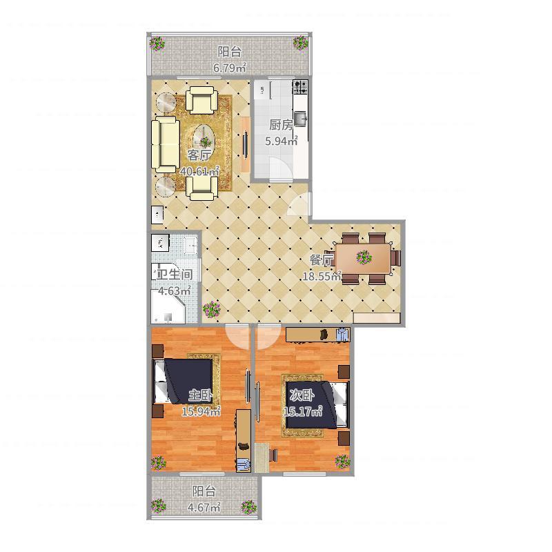金碧园13-35-601户型图