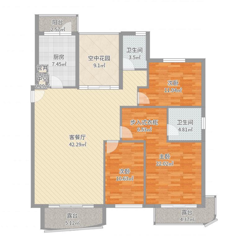 春柳公园3室-副本户型图