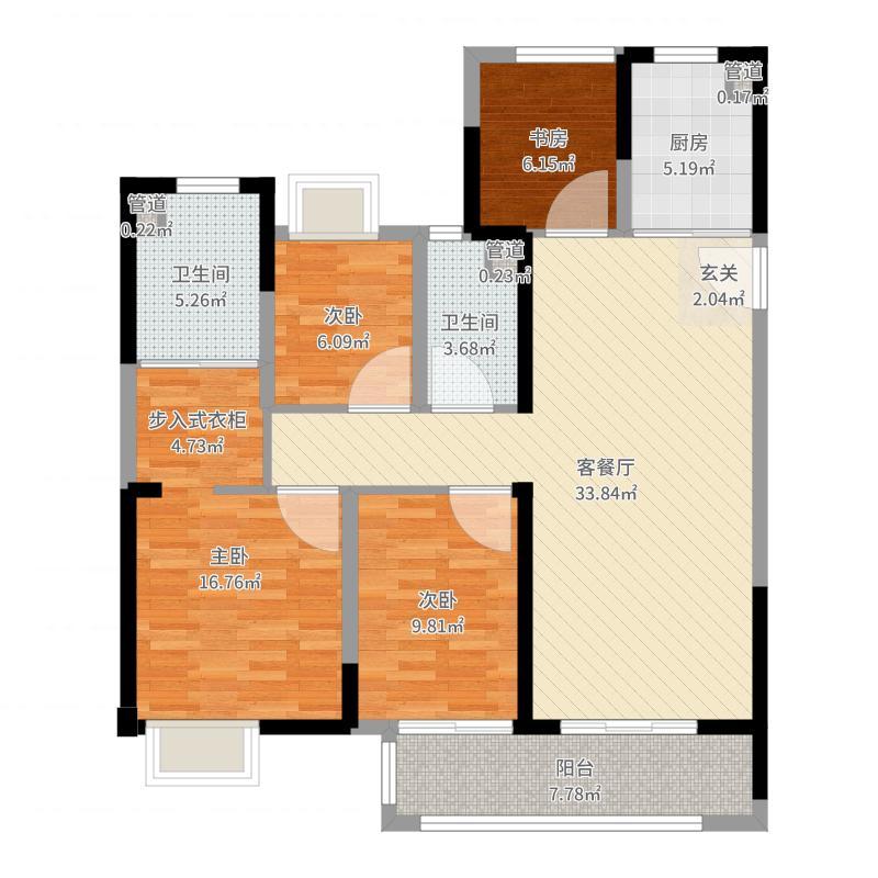 龙湖・九墅119.00㎡E户型3室3厅2卫1厨户型图