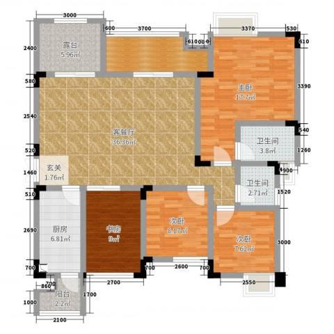 温莎名苑4室2厅2卫1厨120.00㎡户型图