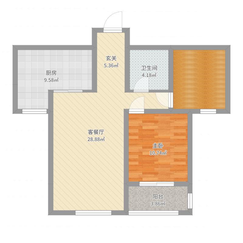 西华名邸98.00㎡A1户型2室2厅1卫-副本户型图