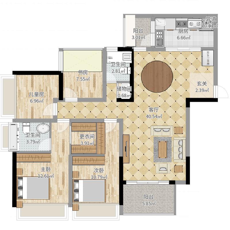 渝北金茂悦115.40㎡一期高层3号楼标准层A1户型4室2厅2卫1厨户型图