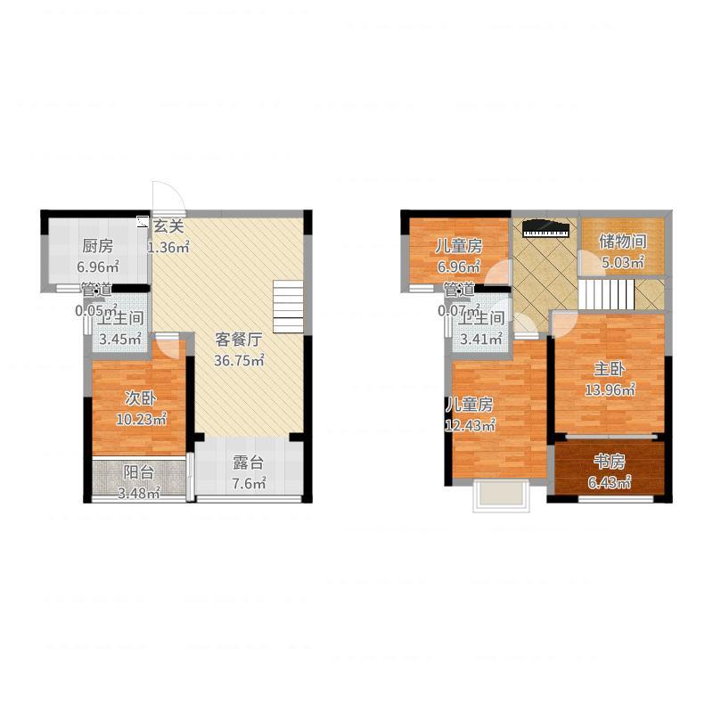 阳光锦城E四室两厅两卫(复式)139㎡-副本-副本户型图