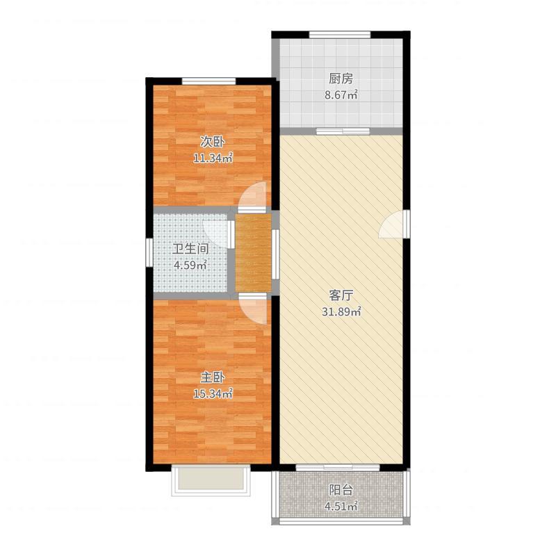 海德堡花园88.29㎡户型2室2厅1卫-副本户型图