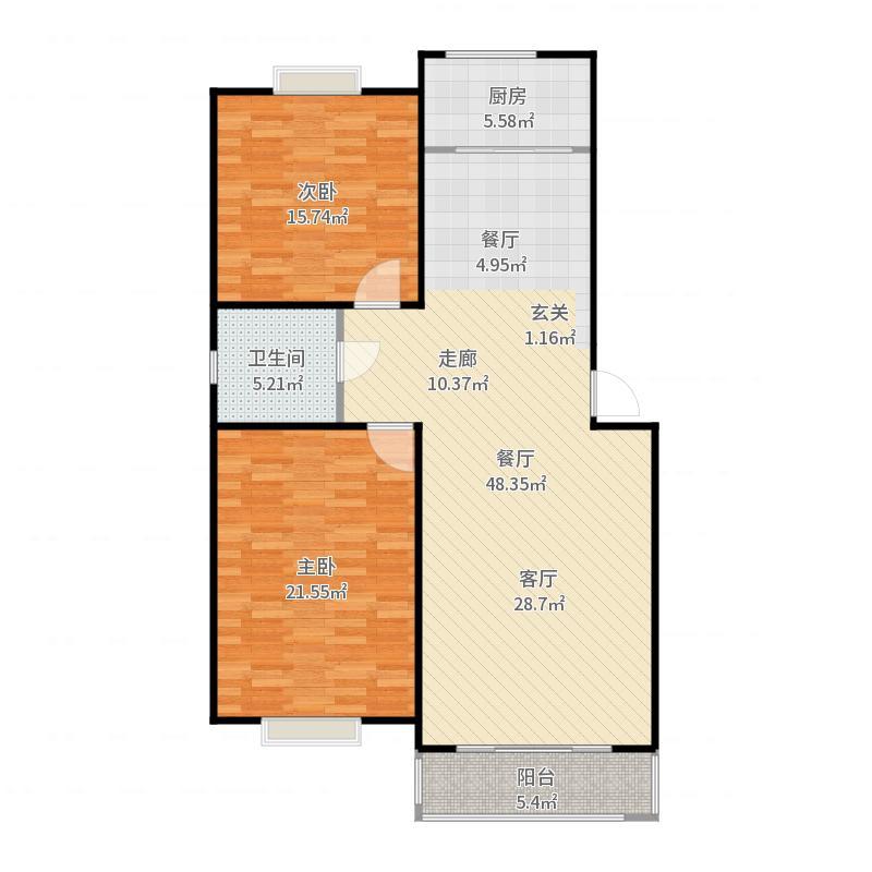 宏扬・香木林户型2室1卫1厨户型图