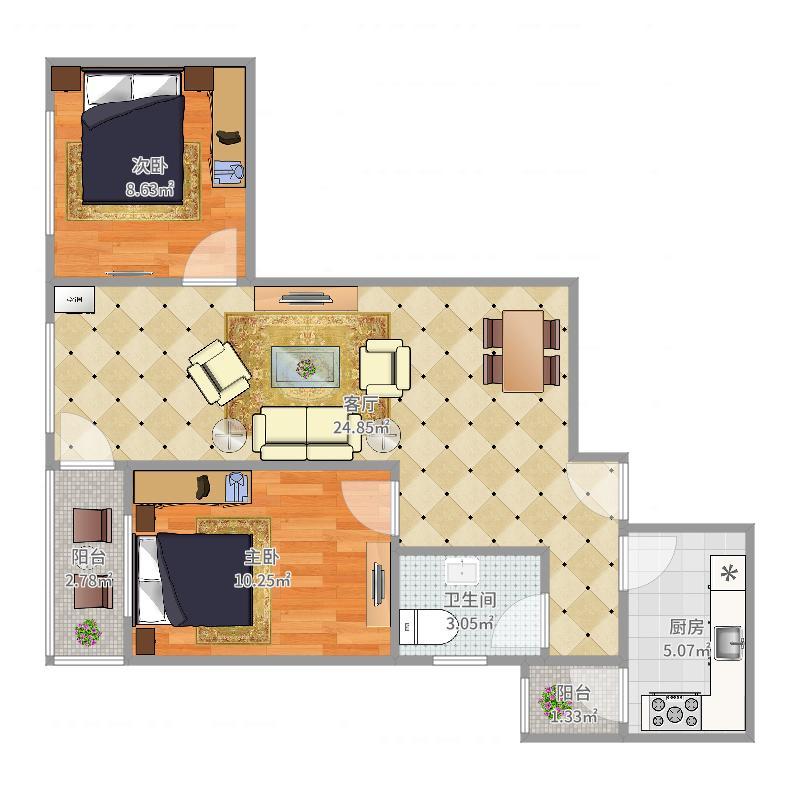 南大区-和平公寓-1308户型图