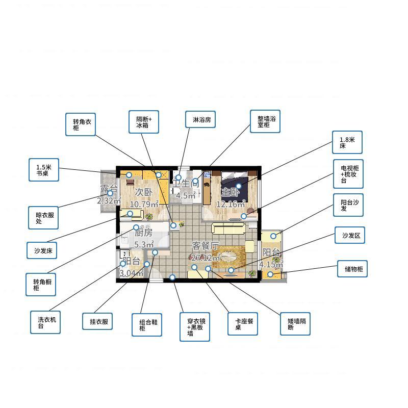 理想城-效果图2户型图