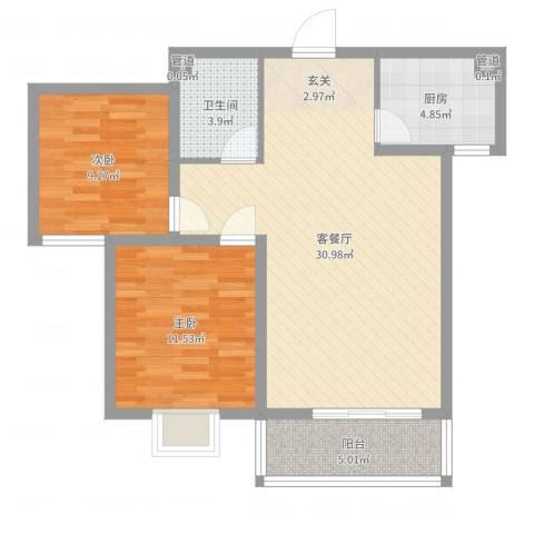 富丽广场2室2厅1卫1厨82.00㎡户型图