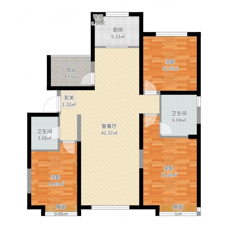 太原保利香槟国际143.00㎡二期C3户型3室2厅2卫1厨-副本户型图