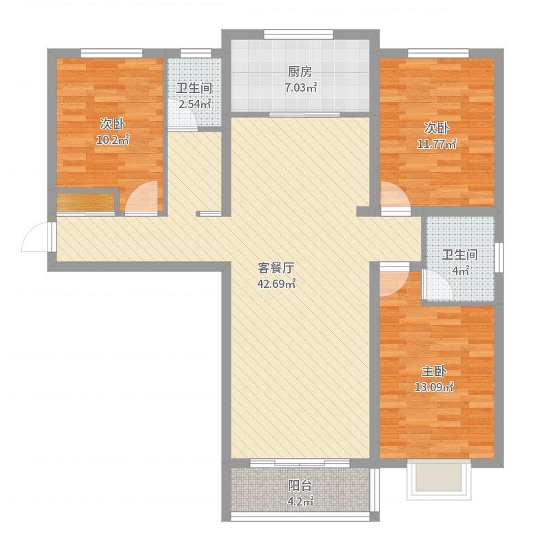 中央・名都135.00㎡C1户型3室3厅2卫1厨-副本户型图