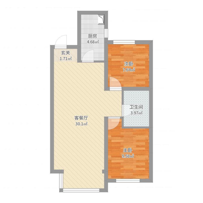 龙湖唐宁ONE83.00㎡户型2室2厅1卫1厨-副本户型图