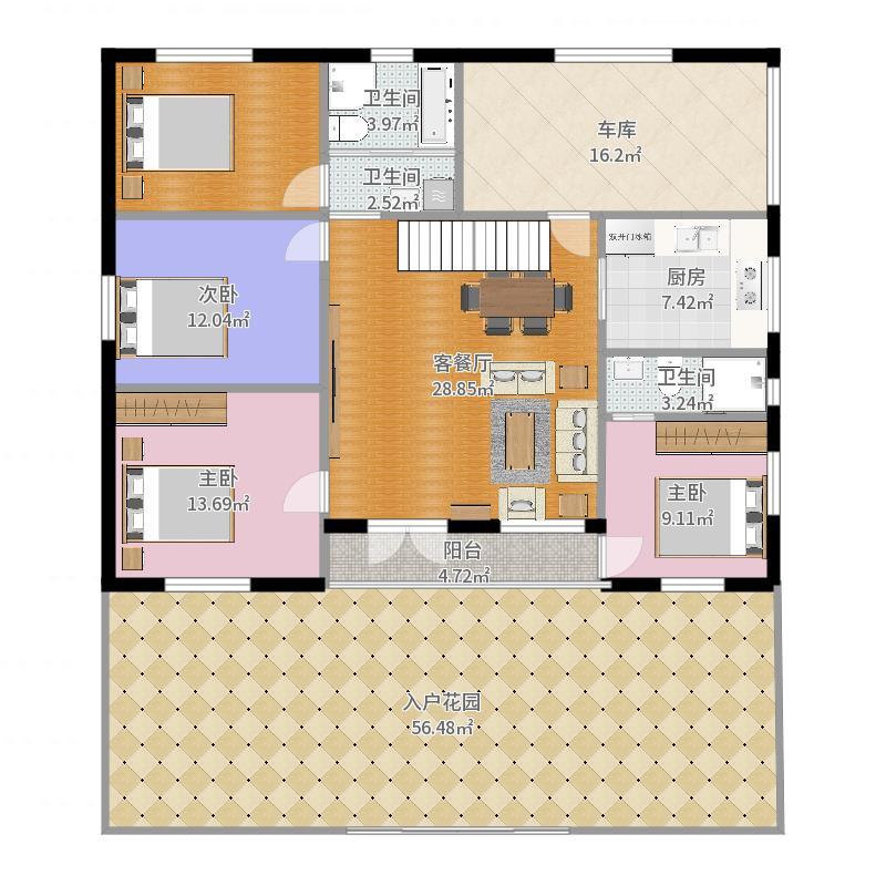 农村自建房10*15米,4间房-双卧朝南户型图