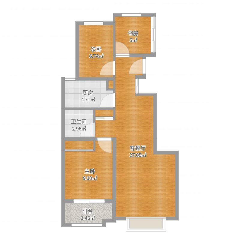 三室两厅一厨一卫-副本户型图