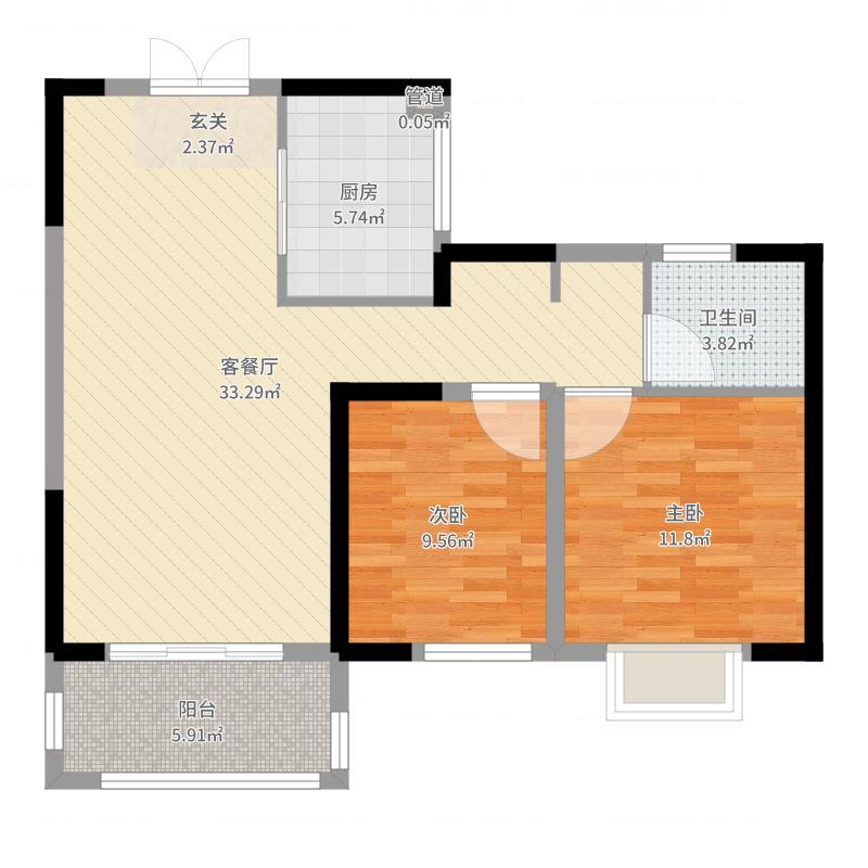 苏宁威尼斯水城87.00㎡十八街区1-15#标准层A户型2室2厅1卫1厨户型图