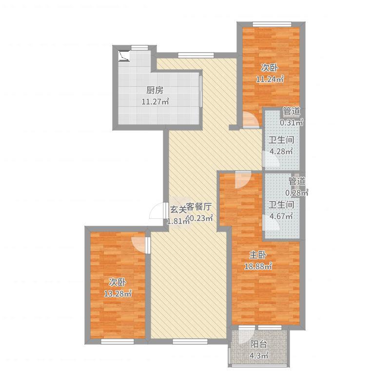 绿城南湖春晓136.67㎡三期115、117号楼标准层C1户型3室3厅2卫1厨-副本户型图
