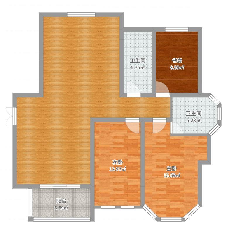 金山豪庭136.40㎡金山豪庭户型图g丙-1户型3室2厅2卫1厨户型3室2厅2卫1厨-副本-副本户型图